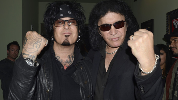 Nikki Sixx and Gene Simmons at the 2012 Revolver Golden Gods Award Show at Club Nokia on April 11, 2012 in Los Angeles, California. (Photo by Robert Knight Archive/Redferns)