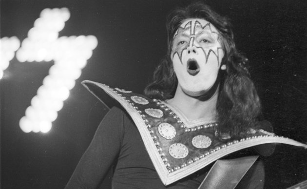LONG BEACH, CA - MAY 31: Guitarist Ace Frehley of the rock and roll band Kiss performs onstage at the Civic Auditorium on May 31, 1974 in Long Beach, California. (Photo by Michael Ochs Archives/Getty Images)